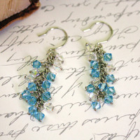 Aquamarine Swarovski Crystal Cluster Earrings