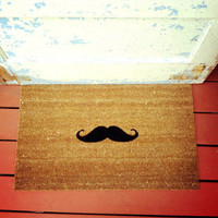 The Fredrick Moustache Doormat - CoCo Coir Modern Tagged Outdoor 60% Recycled Natural Fiber Rug