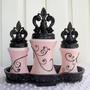 Vanity Set Fleur-de-Lis French Boudoir Paris Decor Inspired Pink and Black Glass Containers Upcycled