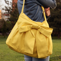One Gift. Bags handmade  Lovely Bag in Yellow  patterned everyday purse  special  only  for you