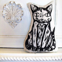 Plush Black Cat Pillow. Woodblock Printed. Customizable Colors. Made to Order.