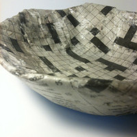 Crossword Time Dish - upcycled newspaper dish