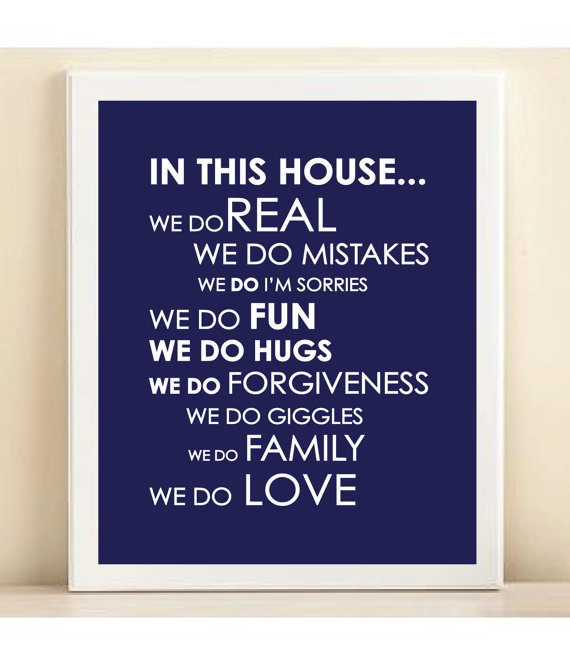Navy &quot;We Do Love&quot; print poster
