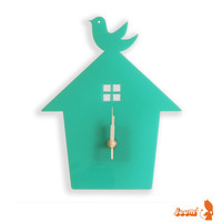 Mint Green Bird House Wall Hanging Clock