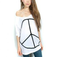 Slouchy peace tee One Size | Screenprint Tee | peace sign peace black white | Bohemian (Boho) / Hippie | UsTrendy