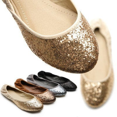 NEW Womens Shoes Ballet Flat Heels Loafers Glitter Multi Colored