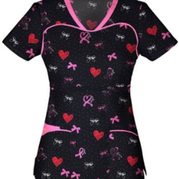 Breast Cancer Awareness Sprinkled with Love Scrub Top For Women