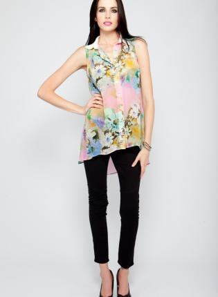 Neon Floral Sleeveless Button Down High-Low Blouse