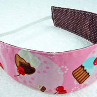 Children reversible headband - Robert Kaufman cupcakes girly kid toddler child pink blue brown dots - Bandeau rversible