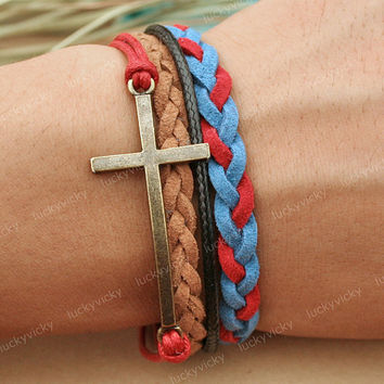 Bracelet-Cross bracelet-British bracelet- Gift for girl friend or boy friend