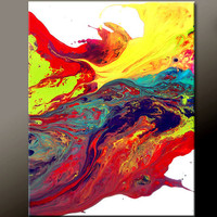 Abstract Art Painting 11x14 Original Contemporary Paintings on Canvas by Destiny Womack - dWo -  Escaping