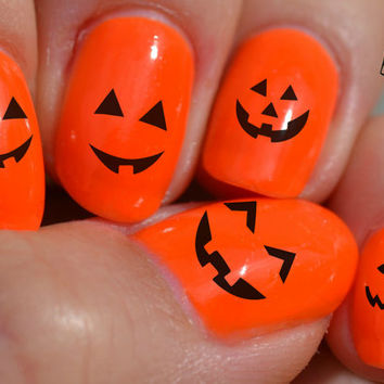 Free Ship,Set of 25 Halloween/Fall Nail Stickers. Pumpkins faces