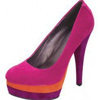 PINK COLORBLOCKED PLATFORM PUMPS @ KiwiLook fashion