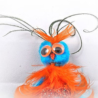 Brooch Pin Or Pendant Owl, Monster, Creature, Critter, Feathers, Pompom, Turquoise and Orange, Peacock, OOAK Jewelry
