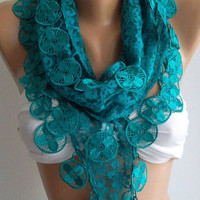 Turquoise / Elegance  Shawl / Scarf with Lacy Edge,