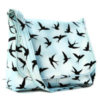 Ladies Messenger Purse - Black Swallows on Baby Blue Cotton
