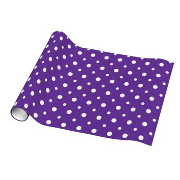Cute Polka Dots, White on Purple Gift Wrap