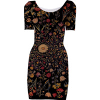 Medieval Flowers on Black Bodycon Dress created by Blooming Vine Design | Print All Over Me
