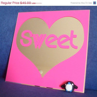 ON SALE Sweetheart Mirror - Vinyl Decal Mirror - Hot Pink