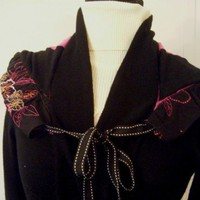 Black Hot Pink and Orange Lightweight Gypsy Sweater Coat