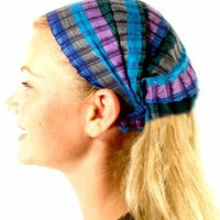 MayaWear Bandana - `Iris` Handwoven 100% Cotton with Elastic Backing Easy to wear