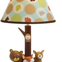 Carter`s Forest Friends Lamp Base And Shade, Tan/Choc, 5.5 X 12""