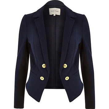 Navy quilted structured jacket - blazers - coats / jackets - women
