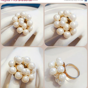 Fall Jewelry Sale Vintage Pearl Ring with Wire Wrapped Pearls on size 8 Gold band