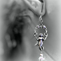 Earrings- Swinging Mermaid, Pewter with Crystal Beads, Sterling Silver Ear Hooks- OOAK Jewelry