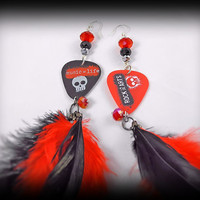Earrings- Long / Guitar Pick/  Feathers/ Crystal/ Skull/ Music Equals Life- Rock The Arts- Hot Topic/ Red, Black, White- OOAK Jewelry