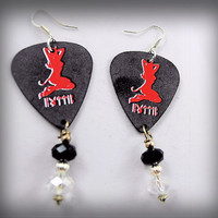 Earrings- Hottie Pinup Little Devil Silhouette Guitar Pick/  Crystal Beads/ Red, Black, - OOAK Jewelry
