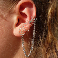 Hammered Silver Plated Multi Swirl Ear Cuff with Chain Accent