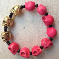 Daniella Bracelet - Hot Pink Stones and Metal Gold Skulls