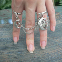 celestial double ring chained moon and star slave ring star sun moon goddess new age belly dance gypsy hippie morrocan boho and hipster