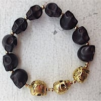 Sabrina Bracelet - Black Stone and Metal Gold Skulls