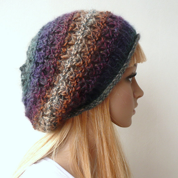 Hand Knit Hat Slouchy Hat Slouch Beret Multicolor Tam Wool Hat Winter Hat in Variegated Yarn in Rich Earthy Colors
