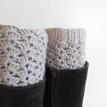 Beige Lace Boot cuff, Crochet boot cuffs, Crochet lace boot toppers, Fall color beige, Teen  Women.