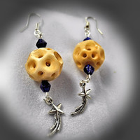 Earrings- Moon & Shooting Star, Beads, Charms, Sterling Silver Ear Hooks -OOAK Jewelry
