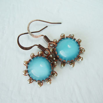 Aqua Blue Glass Dangle Earrings Seed Pearls Minimalistic Antique Copper Jewely Moonstone Glass