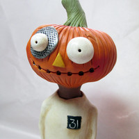 Halloween Happy Pumpkin Man signed original by Janell Berryman Pumpkinseeds