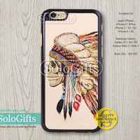Indian chief skull feather iPhone 6 case iPhone 6 Plus case iPhone case, iPhone 5 case, iPhone 5S Case, Galaxy S5 S4 S3 Note 2 Note 3, A0145