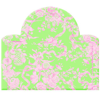 Wall Decal Headboard -  Flowers and Ribbons - Dome Shape - Green and Pink - TWIN - Lite version