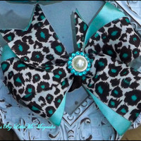 """Blue and Brown Cheetah Hair Bow For Toddler Girls and Little Girls """"Hue Of Blue"""" Little Girls Hair Clip"""