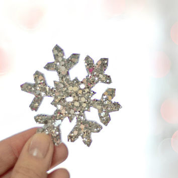 Winter Silver Snowflake - Hair Clip - Shimmering Fabric on Metal Hair Clip - Party Must have - Bridal Wear - Accessory