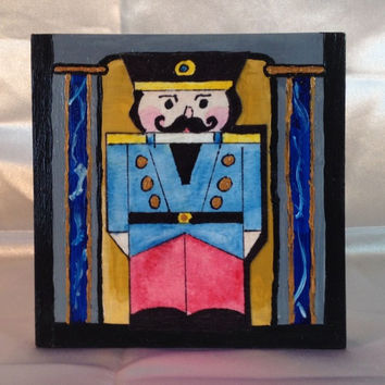 "Nutcracker, Christmas Nutcracker, Painting, Original, Watercolor and Acrylic, 4""x4"" square, 1"" wide Cradled Wood, ""Nutty Blue"" Guard"