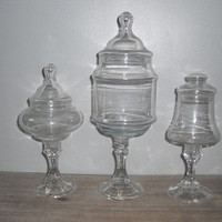 3 upcycled Wedding candy buffet jars ... pedestal glass containers .... terrariums