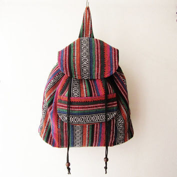 hippie rucksack, tribal backpack,hipster backpack, nepali backpack, navajo  boho school bag, native american travel bag