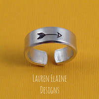 Arrow Hand Stamped Aluminum Ring