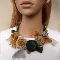 Silk Chiffon Flower Fabric Necklace Gold Mustard Gray Deep Grey Shabby Chic Fashion Accessory Crochet Unique Fiber necklace