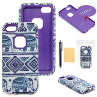 TIANLI(TM) Thailand Elephant Trible Design Hard Plastic Shell Case Cover for iPhone 5C Case Cover for Apple iPhone 5C,Screen Protector,Stylus and Cleaning Cloth tlEP Purple